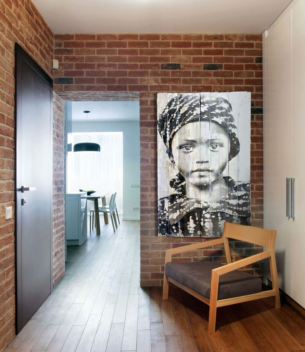 Large Studio Apartments: Large Print On Reclaimed White Washed Wood. (With Images