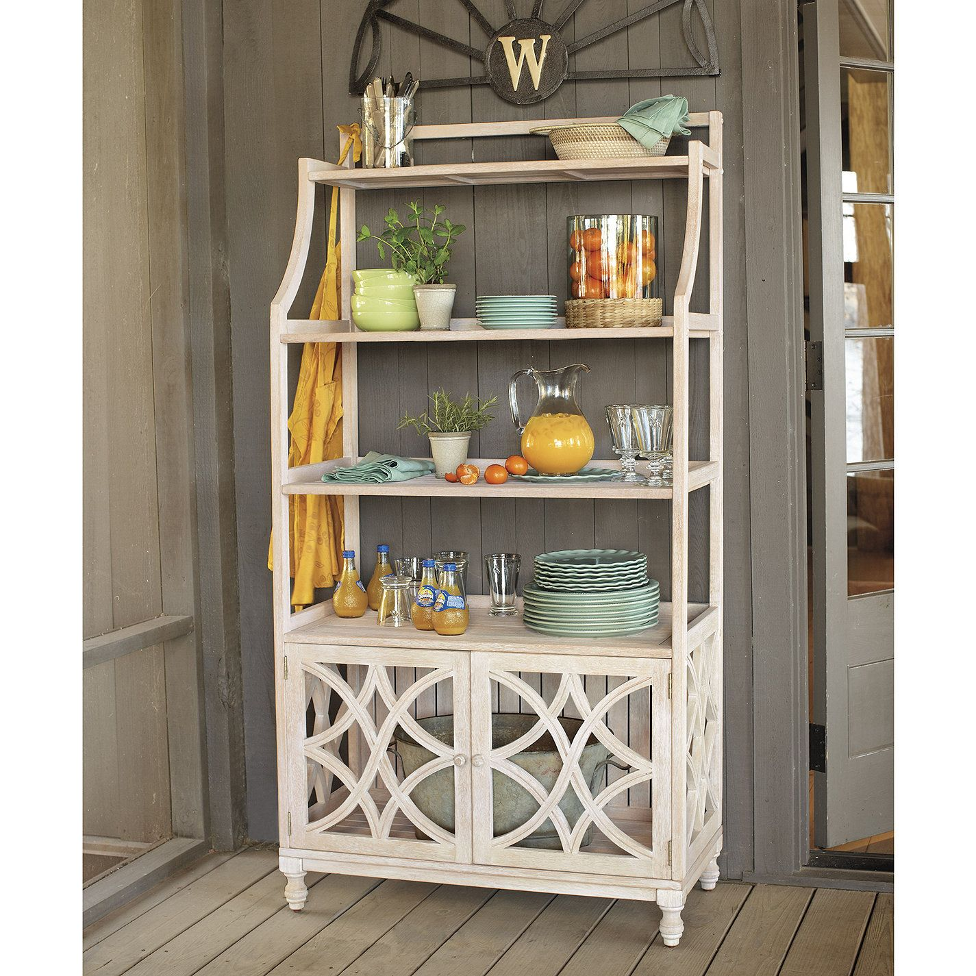 Corner Bakers Rack With Storage Ceylon Whitewash Baker's Rack  Bakers Rack Storage And Kitchens