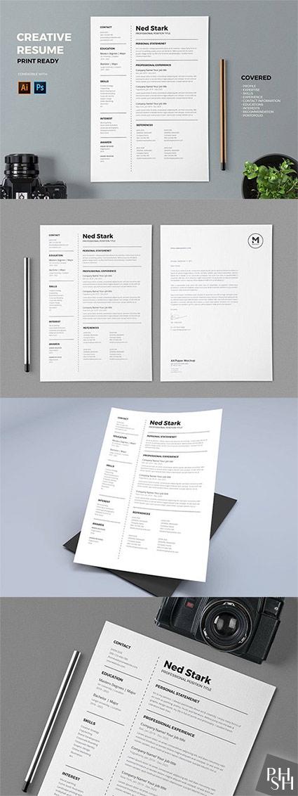 Resume / CV PSD and AI Template Pro Шаблоны резюме для
