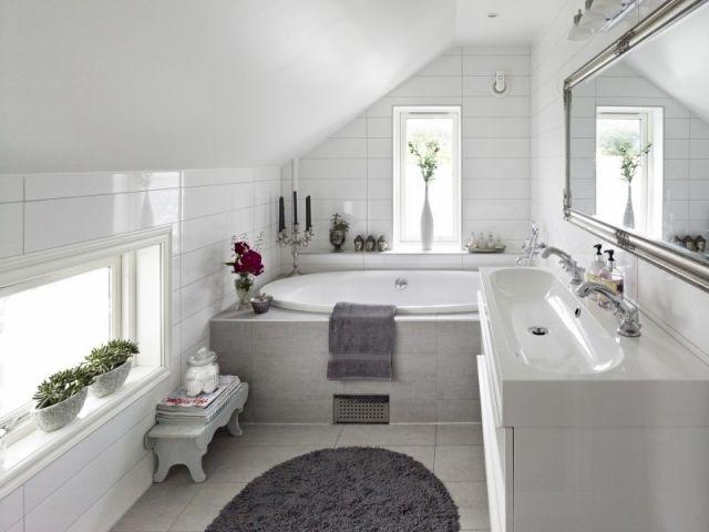 Gestaltung badezimmer ~ Badezimmer dachschräge weiß grau gestaltung bad