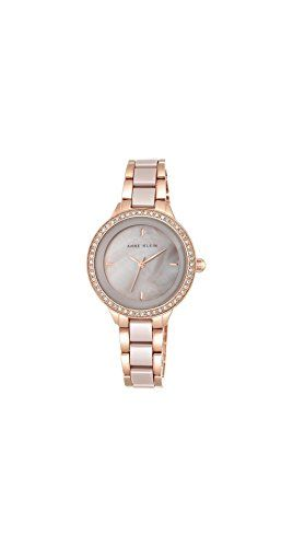 c1266ce89 Anne Klein Women's AK/1418RGTP Swarovski Crystal Accented Rose Gold-Tone  and Taupe Ceramic Bracelet Watch -- You can find more details by visiting  the image ...