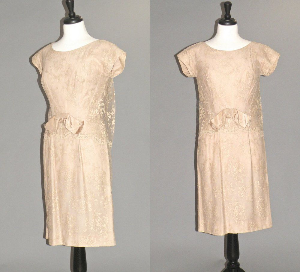 Vintage 1960s Lace Cocktail Dress, 60s Taupe Mother of the