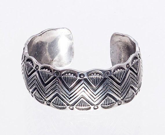 Navajo Cuff Sterling Bracelet  Chiseled Rug by littlethingsvintage