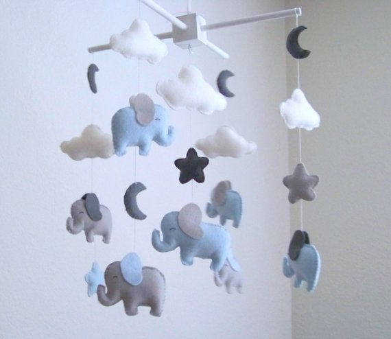 elephant baby mobile blue and gray baby mobile nursery. Black Bedroom Furniture Sets. Home Design Ideas