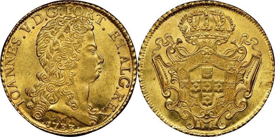 Brazil/Portugese Rulers AV 12800 Reis 1733-M Minas Gerais Mint Joao V