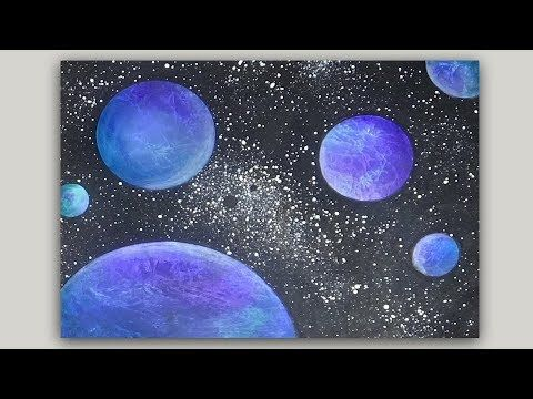 Acrylic Painting Pink And Purple Flowers On A Black Background Youtube Planet Painting Diy Canvas Art Painting Art Projects