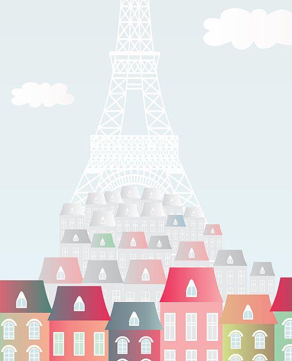 Paris laminas decorativas laminas deoracion por Ilustracionymas