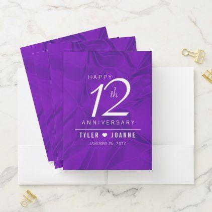 Elegant 12th Silk Wedding Anniversary Pocket Folder Anniversary