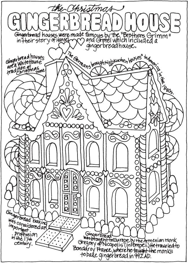 Gingerbread House Coloring Pages Christmas Coloring Pages