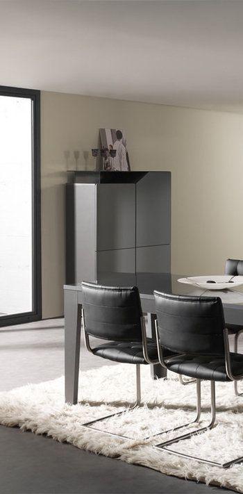Argentier / Bar design gris laqué LOURME, 4 Portes Furniture