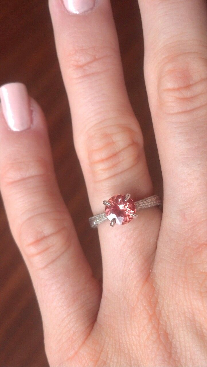 My brilliant Portuguese cut padparadscha sapphire engagement ring ...