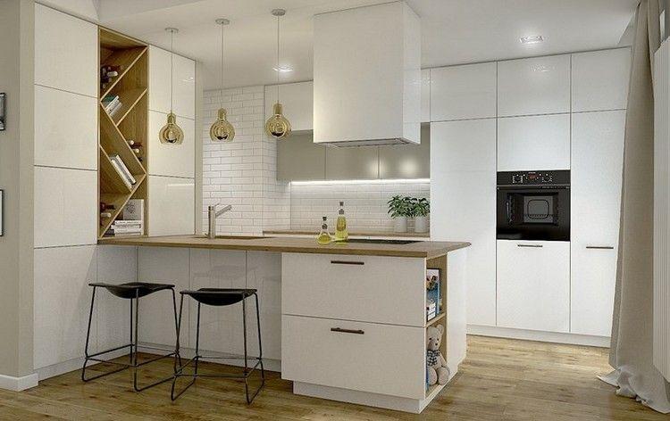 matt weiße Fronten, Arbeitsplatte und Wandregal aus Holz   Kitchen ...   {Arbeitsplatte küche holz eiche 30}