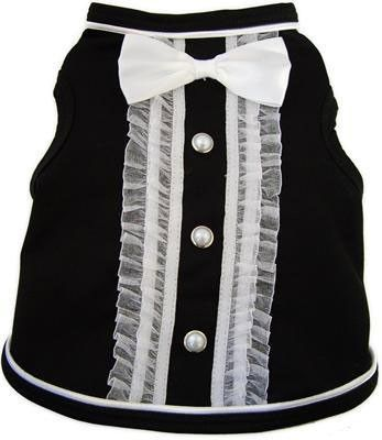 """Formal Tuxedo""""  Tank Top  in color Black/Ivory. Satin Ruffled Trim, Pearl Buttons and finished off with Large Satin Bow Tie. For Big and Small sized Dogs."""