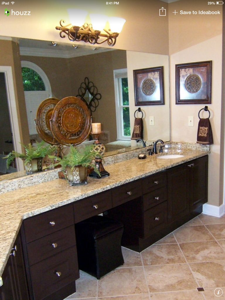 Stain Bathroom Cabinets Darker sw latte wall color. st cecilia granite. dark stained cabinets