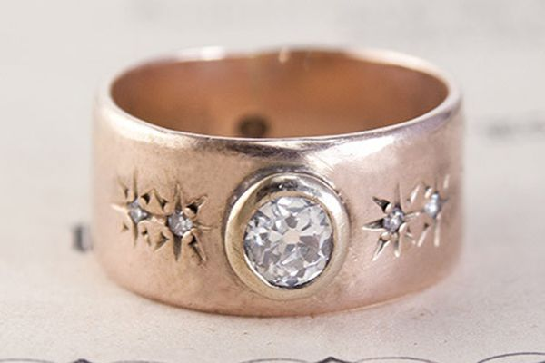 Try larger rings that suit your personality – you have room to get creative. With larger hands, you can easily get away with bulky, chunky styles. :Erica Weiner Antique Late Victorian Rose Gold Band with .33ct Diamond, $1,900: