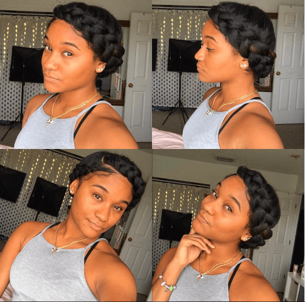 Try This Elegant Chic Halo Braid Tutorial For An Easy Stylish Look Created On Long Natural Hair This Look Ca Natural Hair Styles Curly Hair Styles Halo Braids