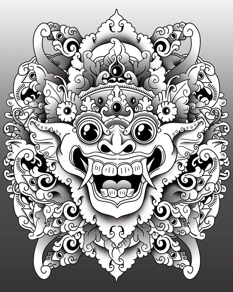 Barong Mask Tattoo Pinterest Masking, Tattoo and Tatting