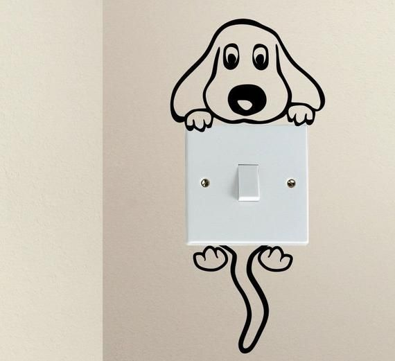 Dog Hanging Light Switch Decal Cover - Light Switch Decal, Wall Sticker, Wall Decal Vinyl Art in various colors #wallpaintingideas