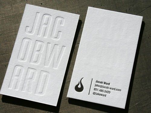 Jacob ward letterpress business card Business Card Designs - Letterpress Business Card