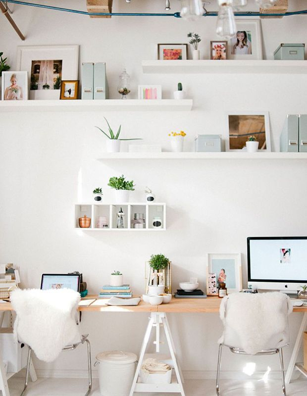 Bright airy and playful best describes this shared workspace designer jennae saltzman jaimee morse also rooms that prove scandi style can be colorful inspire office rh pinterest