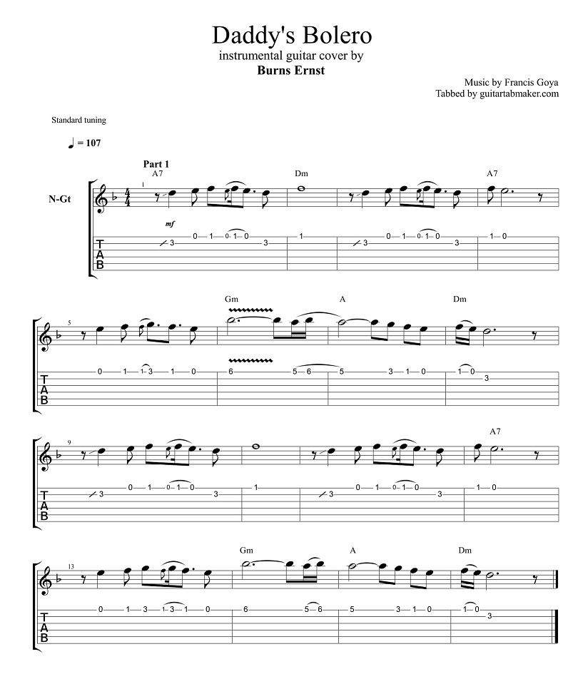 daddy 39 s bolero guitar tabs instrumental guitar tab easy pdf guitar sheet music guitar. Black Bedroom Furniture Sets. Home Design Ideas