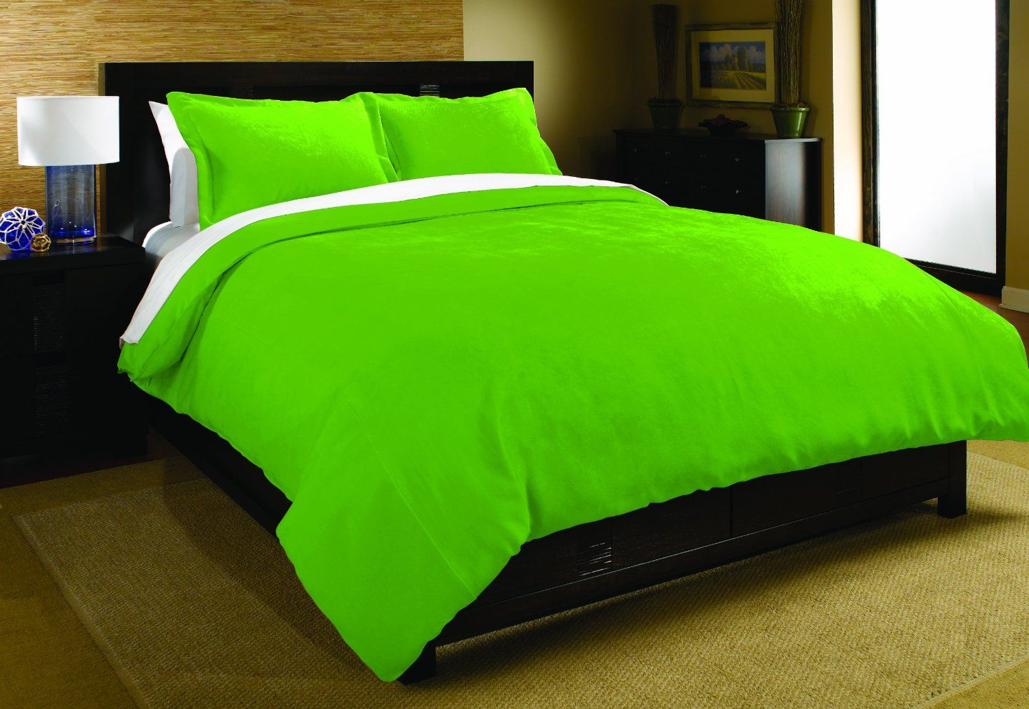 Solid Color Lime Green Bedding Set Twin Or Full Queen Size Microfiber Duvet Set Green Bedding Green Bedding Set Bedding Sets Lime green comforter sets queen