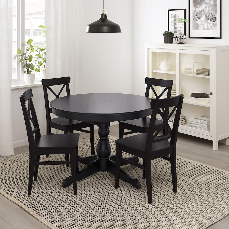 Ingatorp Extendable Table Black Max Length 61 Ikea In 2020 Dining Table Black Black Round Dining Table Black Kitchen Table