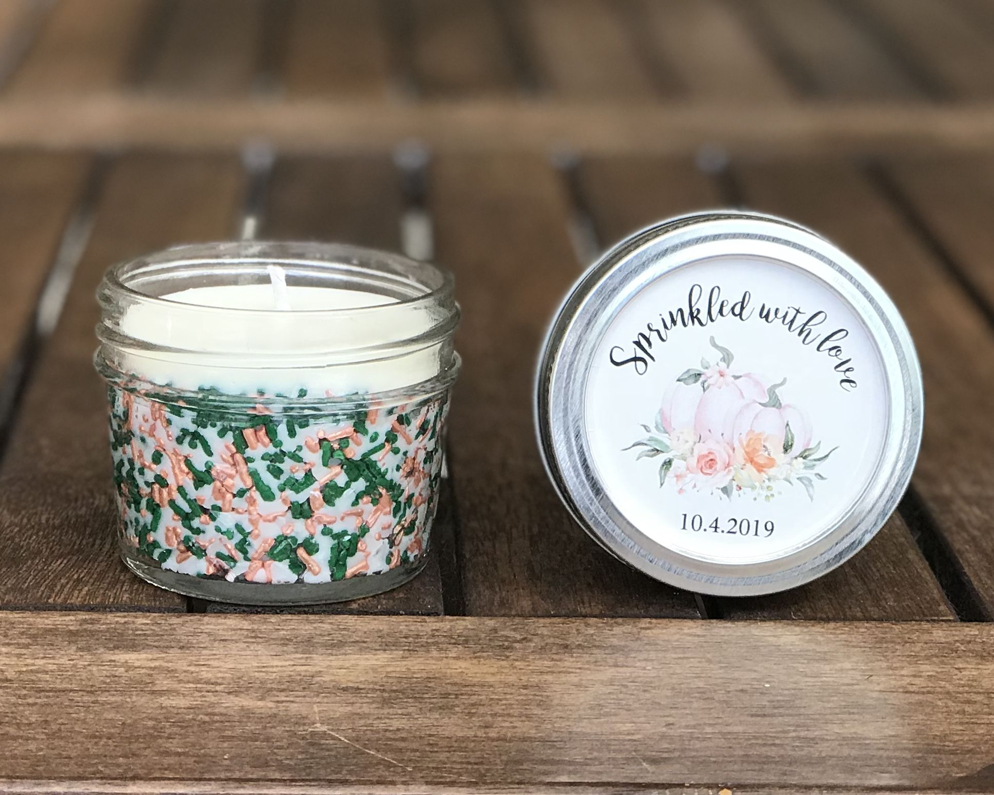 4 Oz Custom Candles In Any Color Custom Candle Party Favors Baby Sprinkle Favors Baby Shower Favors Mason Jar Candle Favors Custom Candles Pumpkin Candles Mason Jar Candle Favors