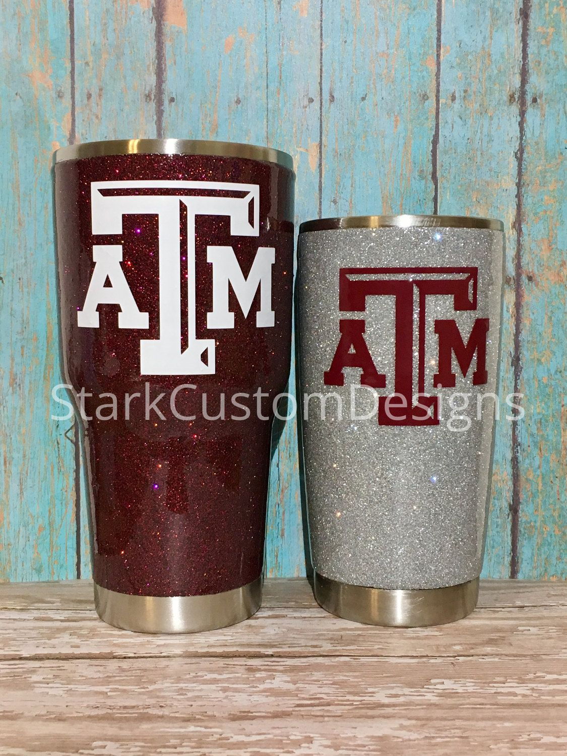 87569e8a46e Texas A&M Aggies Inspired Glitter Tumbler - Yeti, Rtic, or Ozark - 30 oz.  or 20 oz. (sealed decal) by StarkCustomDesigns on Etsy