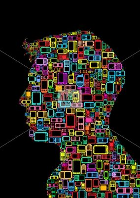 Profile silhouette made with cellphones and smartphones Stock Illustration
