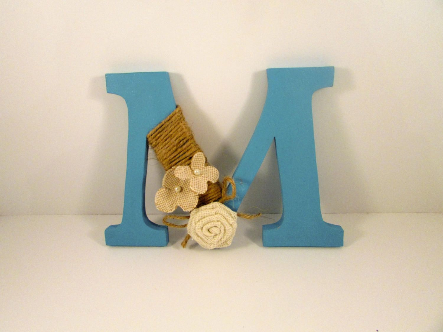 Custom Letter  Turquoise And Burlap Letter  Rustic Name Letter