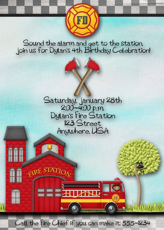 Fireman Firefighter Fire Station Birthday Party Invitation – Firefighter Party Invitations