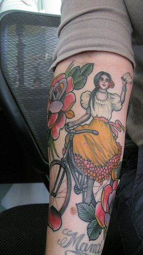 Cycle Girl Tattoo On Arm