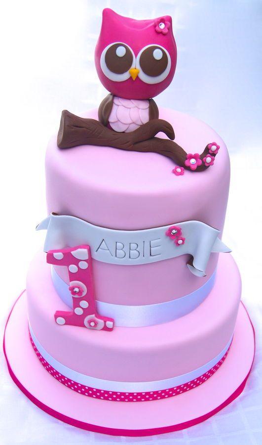 Pink Owl 1st Birthday Birthday Cake Photos