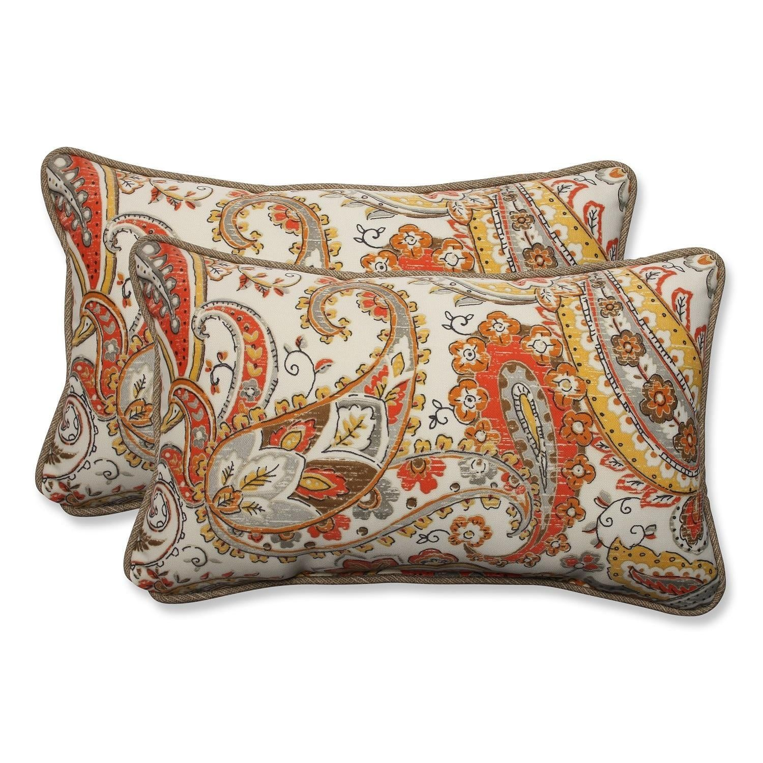 Set Of 2 Orange And Yellow Paisley Sunset Outdoor Corded Throw