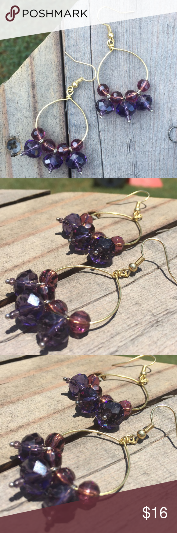 "Purple Tones on Gold Metal Statement Earrings Purple Tones on Gold Metal Statement Earrings Gorgeous faceted beads hang from gold tone metal to create a rich jewel tone statement earring.  Hangs approx 2.25"".  Such gorgeous colors!  Designed and handmade by a graduate of Savannah College of Art and Design.  Brand new!  Reasonable offers are welcome and will definitely be considered!  Take advantage of bundles to get a discount and to maximize shipping!  Handmade with love in the USA. Jewelry…"