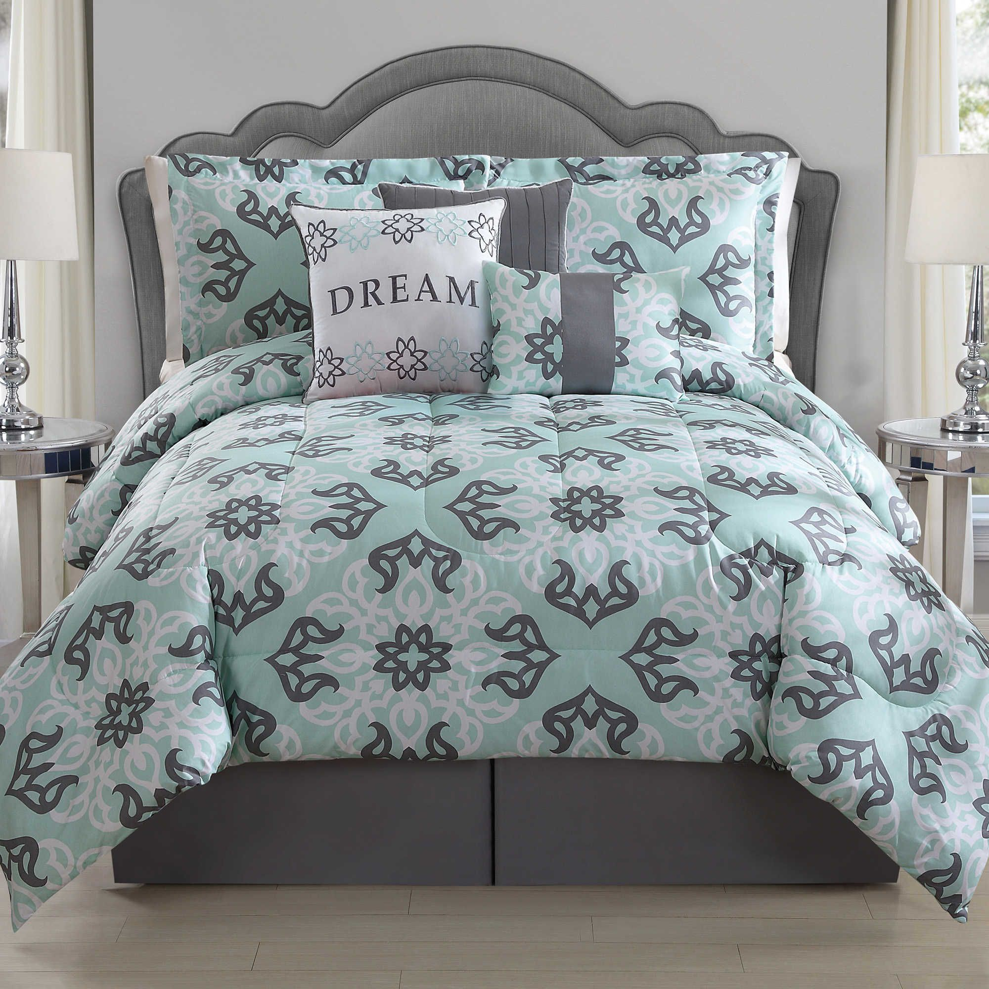 Best Dream 4 Piece Twin Comforter Set In Mint Grey Bedding 640 x 480