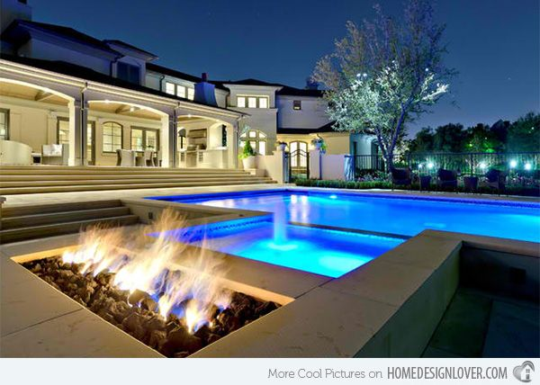 Dramatic Modern Pool Areas With Fire Pits Modern Pools
