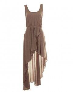 mocha asymetrical maxi dress