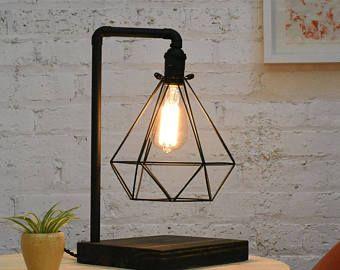 Copper Table Lamp Wood Base Diamond Copper Cage Mo...