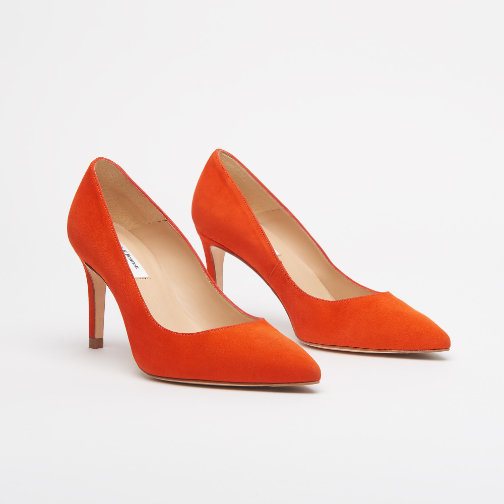 Floret Orange Suede Pointed Toe Courts