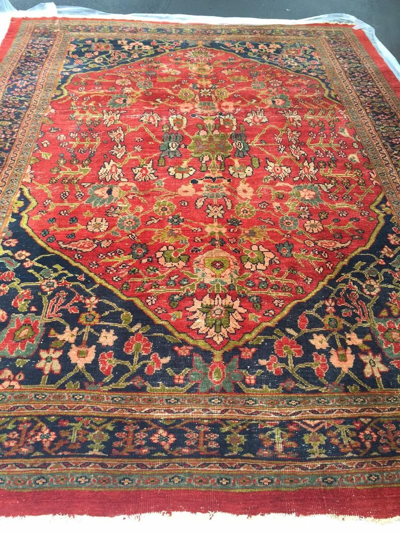 Antique Persian Rug Tabriz Rug Area Rug Persian 9 X 12 Palace Etsy In 2020 Antique Persian Rug Red Persian Rug Persian Rug