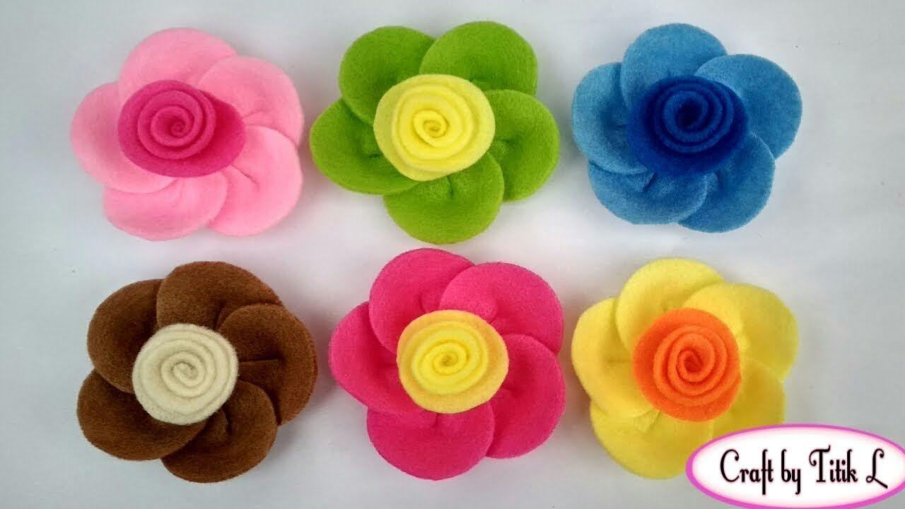 Diy How To Make Flower Brooch From Felt Cara Membuat Bros Bunga Dari Kain Flanel Bros Flanel Kreatif