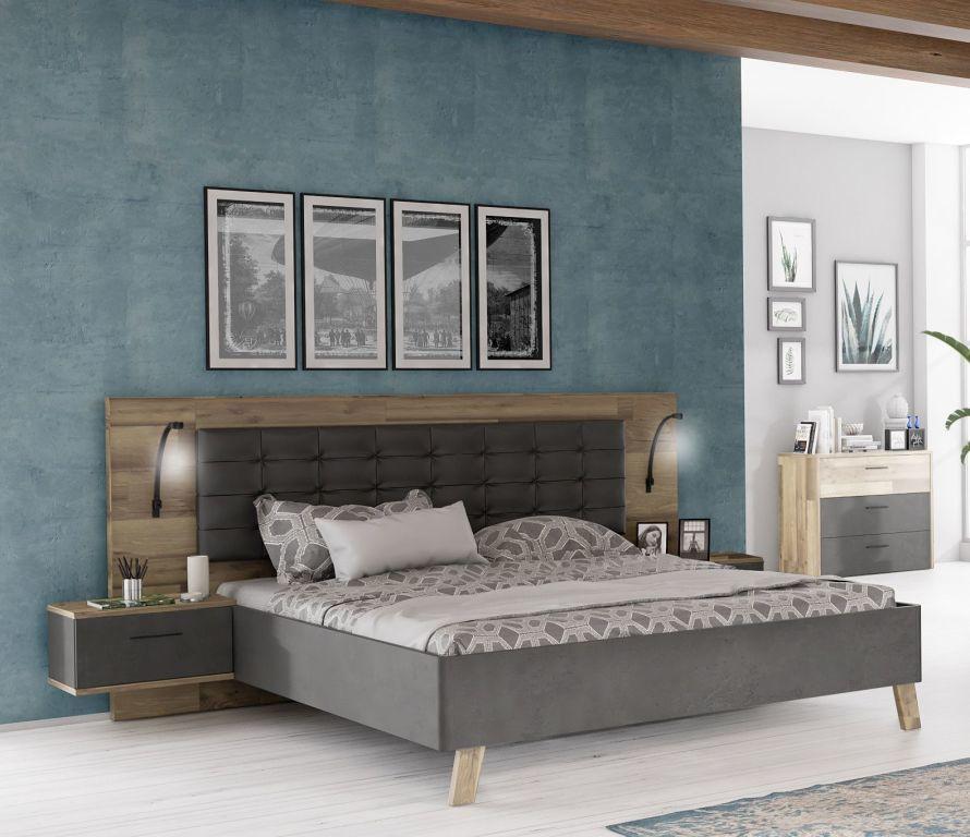 Ensemble Lit 180 X 200 Cm Ricciano Aspect Beton Lattes De Chene Lit 180x200 Idee Deco Chambre Moderne Mobilier De Salon