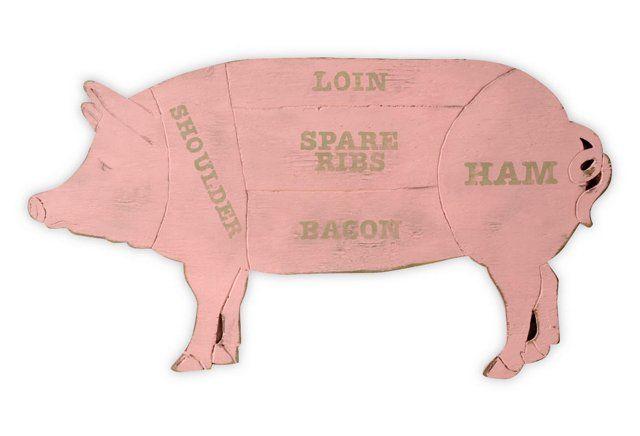 Butcher Shop Pig Sign - one king's lane