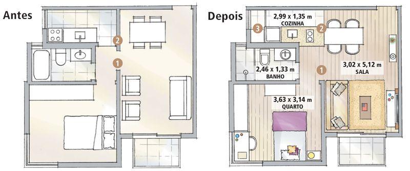 Top Apartamento pequeno: integração fez render os 43 m² | Baixinha  MZ21
