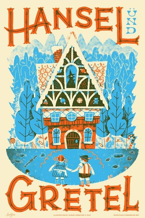 Hansel and Gretel Illustrated Screen Print by Shelby Rodeffer