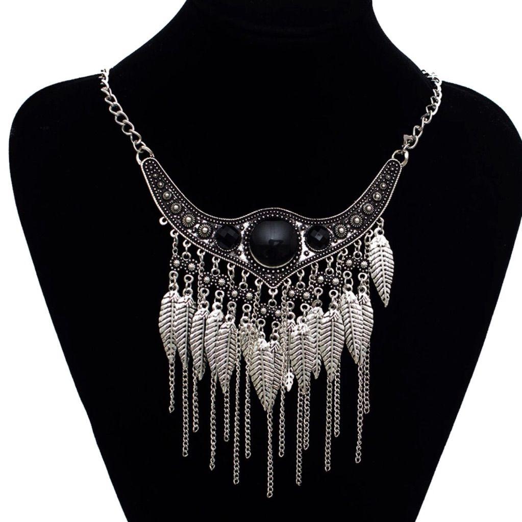 Ethnic choker silver power maxi statement necklace statement