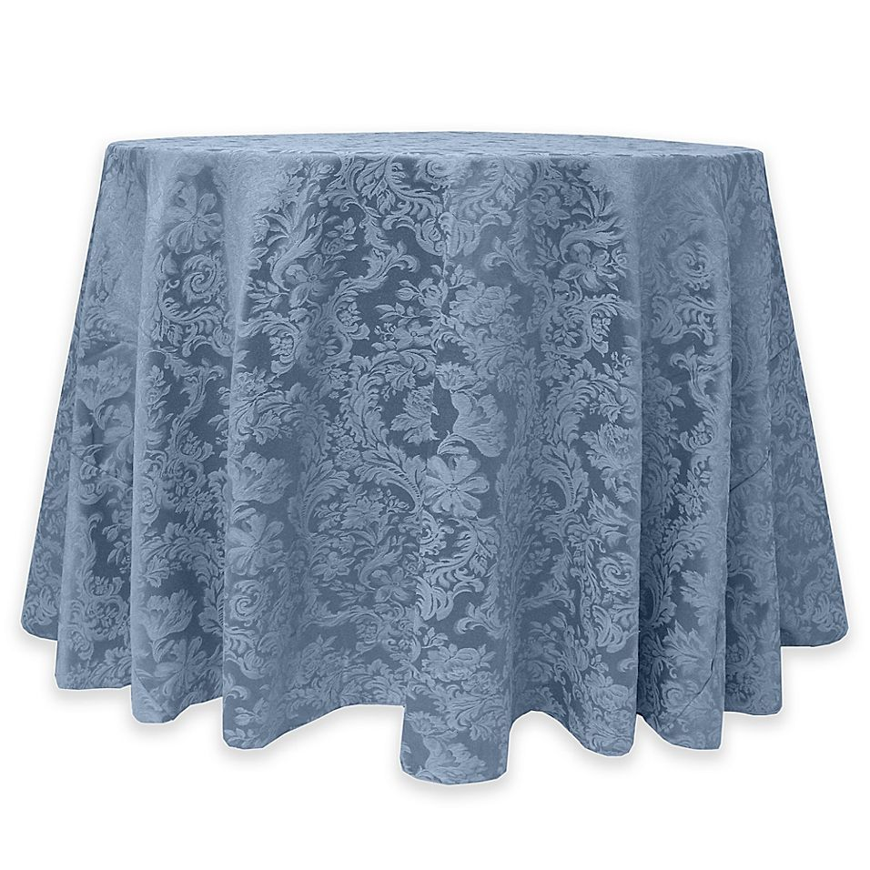 Miranda Damask 60 Inch Round Tablecloth In Slate Table Cloth