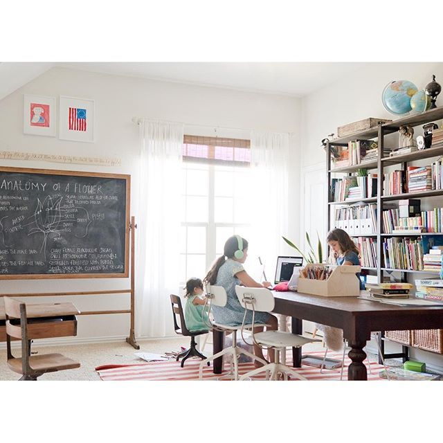 Minimalist Homeschool Room: Chalkboard, Antique Desk, Farm Table, Bookshelves